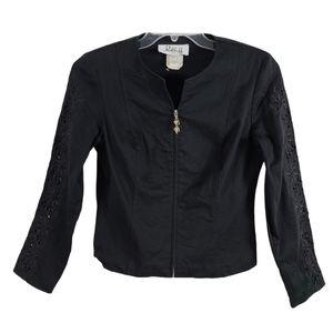 Joseph Ribkoff Zip Moto Jacket 8 Lazer Cut Out Floral Sleeve Collarless Black